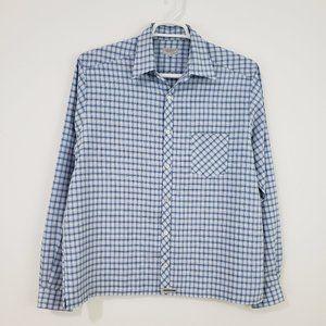 TED BAKER Men's Blue Plaid Button Down Shirt 4/L